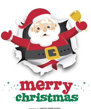 Santa Claus with bell on ripped paper - vector gratuit #328371