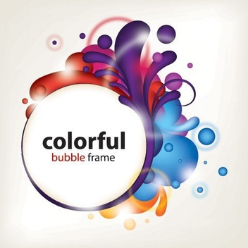 Colorful Splashed Frame Circle Banner - vector gratuit #328391