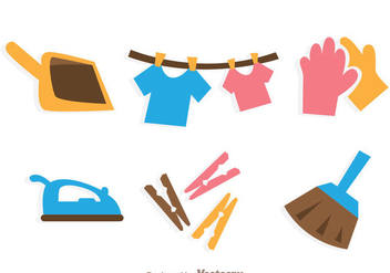 Housework Cleaning Icons - Free vector #328771
