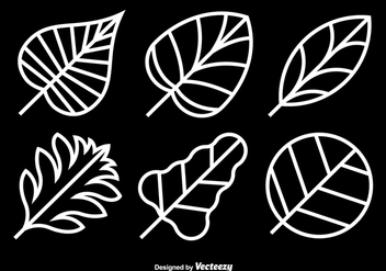 White leaves icons - vector gratuit #328801