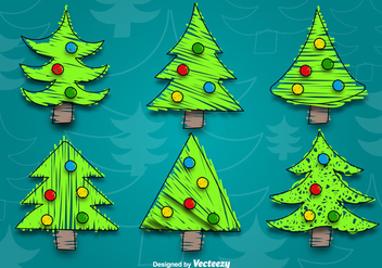 Cartoon christmas tree vectors - vector gratuit #328831