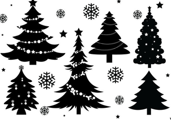 Christmas Tree Silhouette Vectors - Free vector #328931