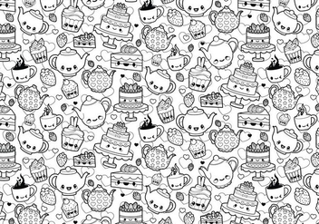 Tea Party Coloring Page - Free vector #329461