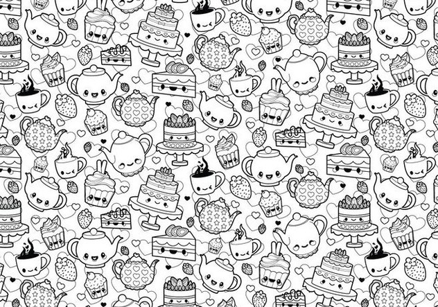 Free Stock vector Tea Party Coloriage #329461: www.cannypic.com/fr/free-vector/tea-party-coloring-page-329461