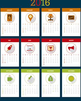 2016 desktop calendar - Free vector #329841