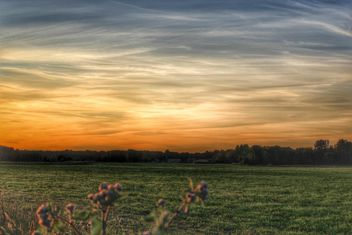 Sunset sky on a field - image gratuit #329951