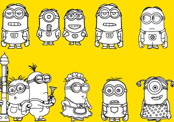 Minions Coloring - Free vector #330071