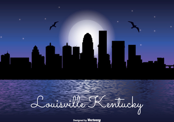Louisville Kentucky Night Skyline - бесплатный vector #330081
