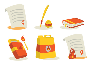 Book and Document Burning Vector Set - Kostenloses vector #330111