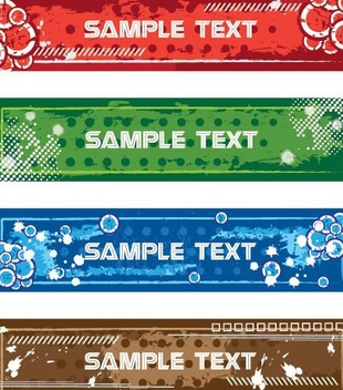 Multicolor Grungy Large Banner Collection - vector gratuit(e) #330831