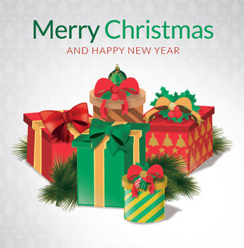 Merry Christmas gift boxes - vector gratuit #332711