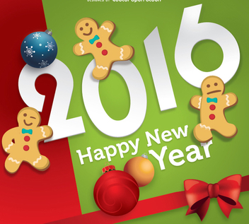 2016 New Year Gingerbread - Free vector #333081