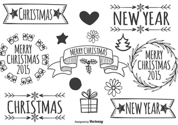 Cute Hand Drawn Christmas Elements - Free vector #333371