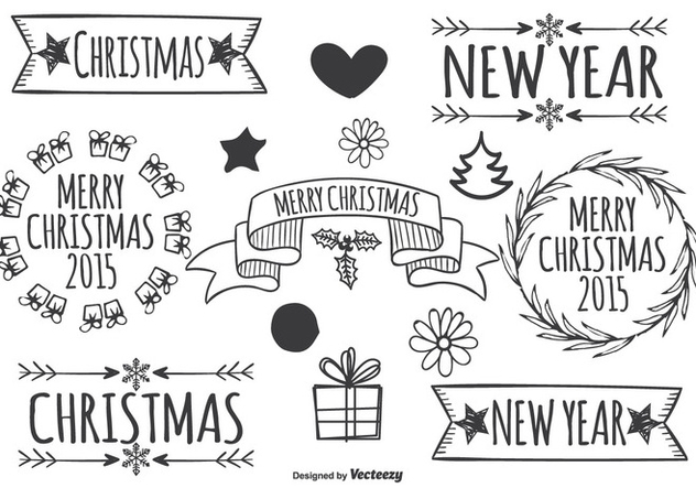 Cute Hand Drawn Christmas Elements - vector #333371 gratis