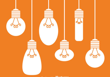Hanging White Light Bulbs - vector gratuit #333841