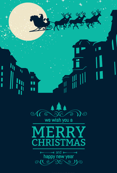 Christmas skyline with Santa Crossing sky - vector #334361 gratis