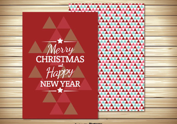 Two Parts Retro Christmas Card - vector gratuit #334461