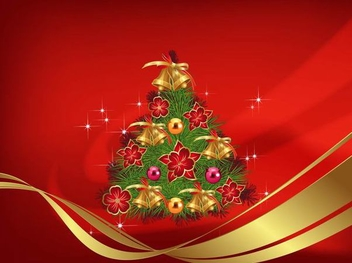Christmas Decoration Red Background - vector gratuit(e) #334511