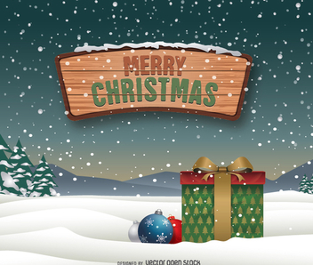 Merry Christmas snow landscape - Free vector #334671