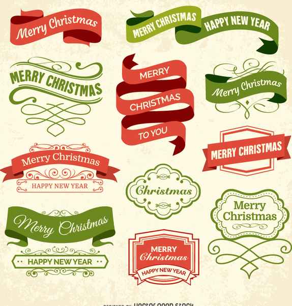 Christmas labels and badges - vector #334931 gratis