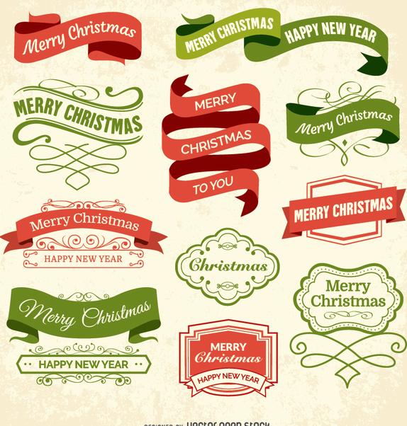 Christmas labels and badges - бесплатный vector #334931