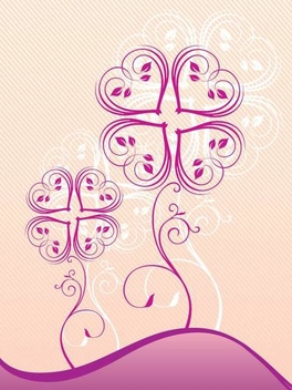 Purple Swirling Plants Background - Free vector #335151