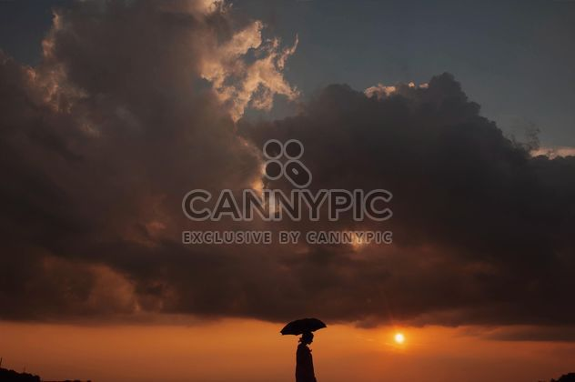 Silhouette of a girl with umbrella - Free image #335181