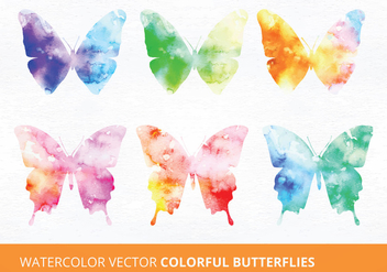Watercolor Butterflies Vector Illustrations - Free vector #335471
