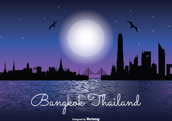 Bangkok Night Skyline Illustration - Free vector #335501
