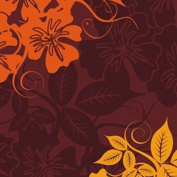 Yellow Orange Flowery Background - vector gratuit #335821