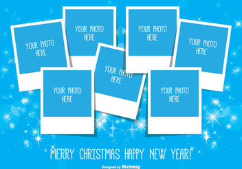 Blue Christmas Polaroid Photo Collage - Free vector #335831