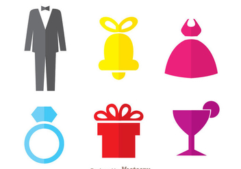 Colorful Wedding Icons - Free vector #335981