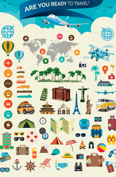 Travel large elements set - vector #336391 gratis