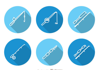 Fishing Rod Circle Icons - Free vector #336531