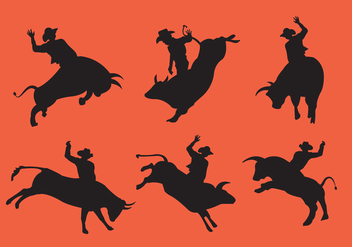Bull Rider Silhouettes - Free vector #336671