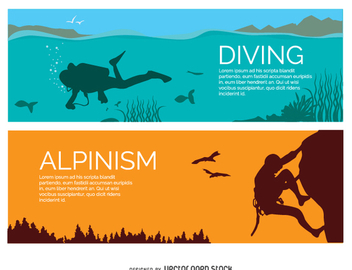 Diving and alpinism banners - vector gratuit #336981
