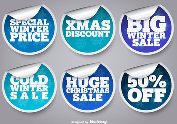 Winter sale stickers - Free vector #337181