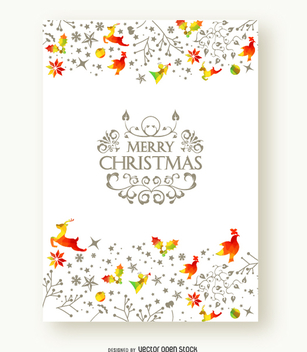 Merry Christmas beautiful postcard - Free vector #337211