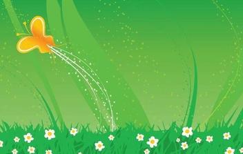 Butterfly Glittery Green Landscape - vector gratuit #337221