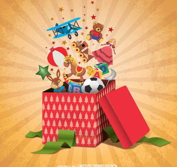 Gift boxes full of toys - vector gratuit #337351