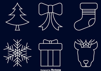 Line Art Christmas Icon Set - Free vector #337411