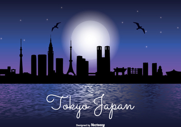 Tokyo Japan Night Skyline - Free vector #338121