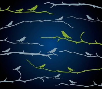Birds Sitting Branch Silhouettes - vector gratuit(e) #338451