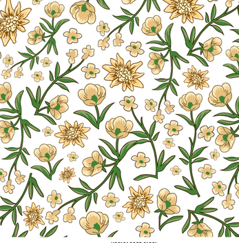 Yellow and white flower pattern - vector gratuit #338461