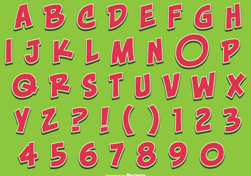 Cute Watermelon Style Alphabet Set - Free vector #338821