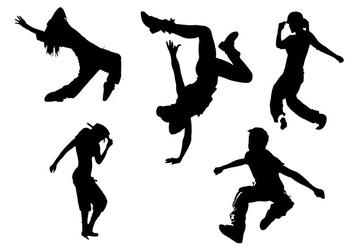 Hip Hop Silhouette Vectors - vector gratuit #339271