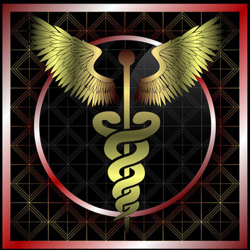 Vintage medical caduceus charm - Free vector #339631
