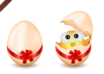 Easter Eggs and Chicken - Free vector #339931
