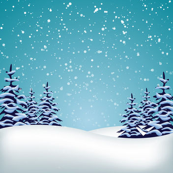Vector Winter Landscape - vector gratuit #340441