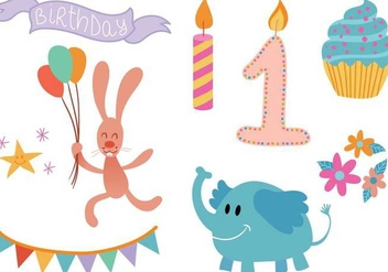 Free First Birthday Vectors - vector gratuit #341371